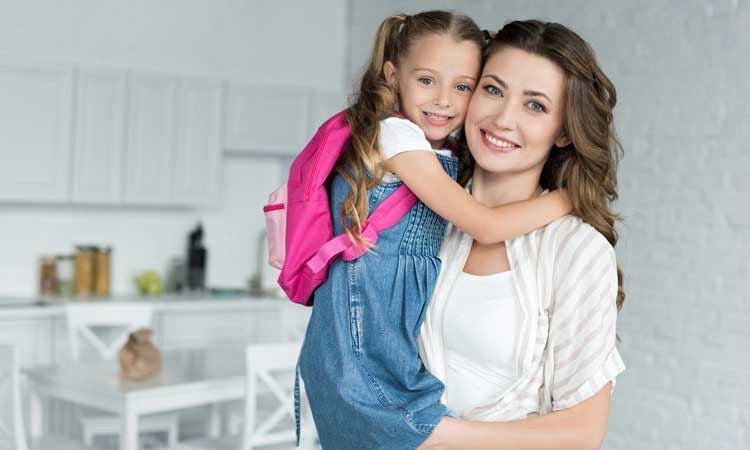mother and daughter back-to-school photo