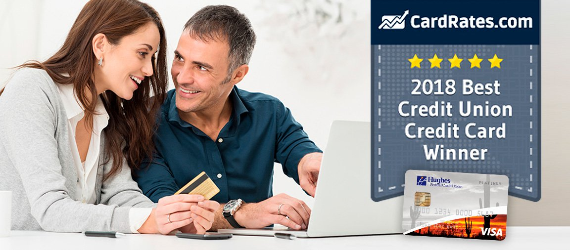 CardRates.com blog header - couple with credit card at laptop