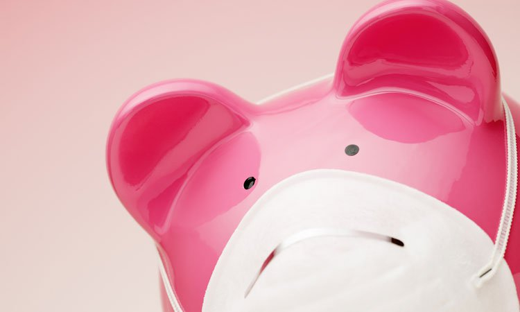 a pink piggy wearing a mask